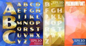 Alfabeto di vettore della fonte poli su fondo geometrico astratto due Immagine Stock