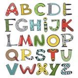 Alfabeto di vettore di scarabocchio, insieme delle lettere illustrazione vettoriale