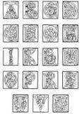 Alfabeto di XVº secolo dalla bibbia dorata Fotografie Stock