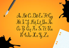 Alfabeto dibujado mano de la tinta Foto de archivo