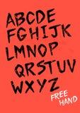 Alfabeto dibujado mano del vector Foto de archivo