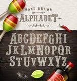 Alfabeto dibujado mano del vintage