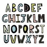 Alfabeto dibujado mano divertida ilustración del vector