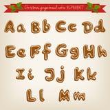 Alfabeto dibujado mano linda de la galleta de la Navidad Imagen de archivo libre de regalías
