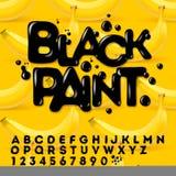 Alfabeto dipinto olio nero Fotografie Stock Libere da Diritti