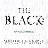 Alfabeto dipinto olio nero Immagini Stock Libere da Diritti