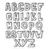 Alfabeto disegnato a mano 3D Fotografie Stock Libere da Diritti