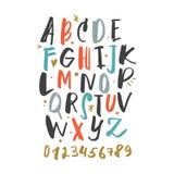 Alfabeto disegnato a mano dell'iscrizione della spazzola sveglia di vettore royalty illustrazione gratis