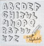 Alfabeto disegnato a mano di schizzo 3D Immagini Stock