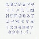 Alfabeto disegnato a mano di schizzo Fonte scritta a mano Fotografia Stock Libera da Diritti