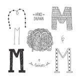 Alfabeto disegnato a mano di vettore Immagini Stock