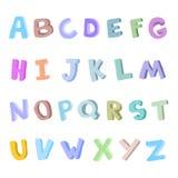 Alfabeto disegnato a mano di vettore, fonte, lettere 3D scarabocchio ABC per i bambini Fotografia Stock