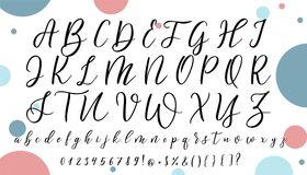 Alfabeto disegnato a mano di vettore Lettere di calligrafia per la vostra progettazione Immagine Stock