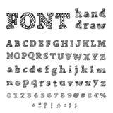 Alfabeto disegnato a mano. Fonte scritta a mano Fotografia Stock Libera da Diritti