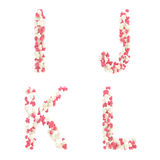 Alfabeto do amor do dia do Valentim feito dos corações Foto de Stock