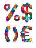 Alfabeto do arco-íris da aquarela Imagens de Stock