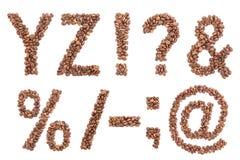 Alfabeto do café isolado no branco Fotografia de Stock