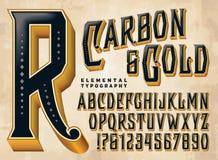 Alfabeto do costume do carbono & do ouro ilustração do vetor