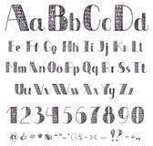 Alfabeto do desenho da mão Imagens de Stock