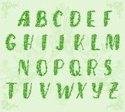 Alfabeto do desenho da mão com ondas florais Fotos de Stock