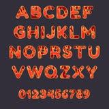 Alfabeto do fogo no fundo escuro Letras principais e numbe Fotos de Stock Royalty Free