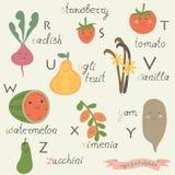 Alfabeto do fruto do vegetariano Fotos de Stock