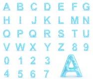 Alfabeto do gelo com números Imagens de Stock