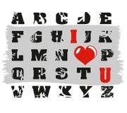 Alfabeto do grunge de Emo Fotos de Stock Royalty Free