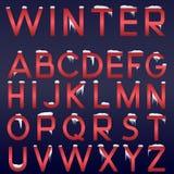 Alfabeto do inverno do vetor Fotos de Stock