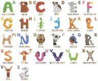 Alfabeto do jardim zoológico Alfabeto animal Letras de à Z Animais bonitos dos desenhos animados isolados no fundo branco Imagem de Stock