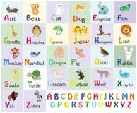 Alfabeto do jardim zoológico Alfabeto animal Letras de à Z Animais bonitos dos desenhos animados isolados no fundo branco Animais Imagem de Stock Royalty Free