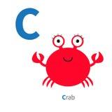 Alfabeto do jardim zoológico do caranguejo da letra C ABC inglês com os cartões da educação dos animais para o projeto liso do fu Imagem de Stock Royalty Free