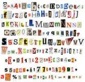 Alfabeto do jornal Imagem de Stock