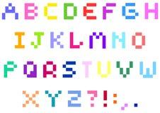 Alfabeto do pixel Imagem de Stock