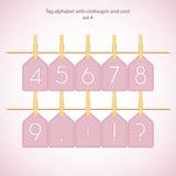 Alfabeto do Tag com clothespin e cabo Fotos de Stock Royalty Free