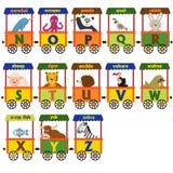 Alfabeto do trem com animais N a Z Imagens de Stock Royalty Free