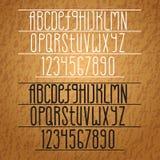 Alfabeto do vetor Letras magros e números Imagens de Stock Royalty Free
