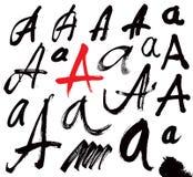Letras do alfabeto escrito com uma escova. Imagem de Stock