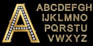 Alfabeto dorato con i diamanti, lettere da A alla Z illustrazione vettoriale