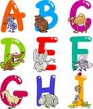 Alfabeto dos desenhos animados com animais ilustração royalty free