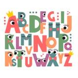 Alfabeto dos desenhos animados com olhos Fotografia de Stock