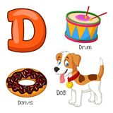 Alfabeto dos desenhos animados D ilustração stock