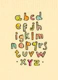 Alfabeto dos desenhos animados do vetor no fundo do cartão ilustração stock