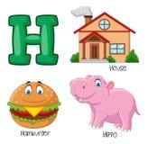 Alfabeto dos desenhos animados H ilustração stock