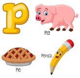 Alfabeto dos desenhos animados P ilustração stock