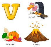 Alfabeto dos desenhos animados V ilustração royalty free