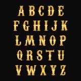 Alfabeto dourado Imagens de Stock Royalty Free