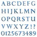 Alfabeto e dígitos da esferográfica do garrancho da garatuja Foto de Stock