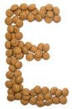 Alfabeto E de la tuerca del jengibre Fotografía de archivo