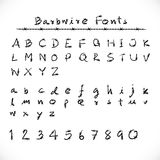 Alfabeto e fonti del filo spinato Fonte del barbwire di alfabeto di numero Immagine Stock